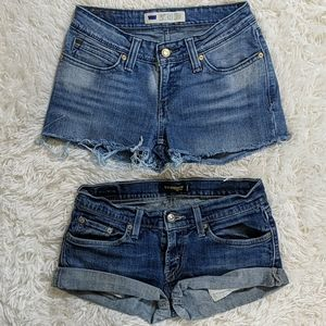 Levi's Cuffed Frayed Hem Shorts LOT of 2 Size 7 M